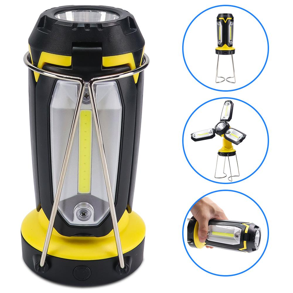 lantern searchlight 3 COB+XPE LED Rechargeable Work Light Emergency Lamp Hand Torch Outdoor Camping Tent Lantern USB Charging title=