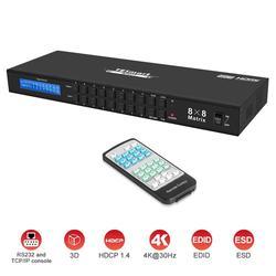 DHLFree nave Veloce 4K2K Ultra HD HDMI Matrix 8 in 8 out Matrix HDMI 8x8 con RS232/ LAN 2Pcs 1U Cremagliera Orecchie 4K Pieno HD1080P @ 60Hz 3D