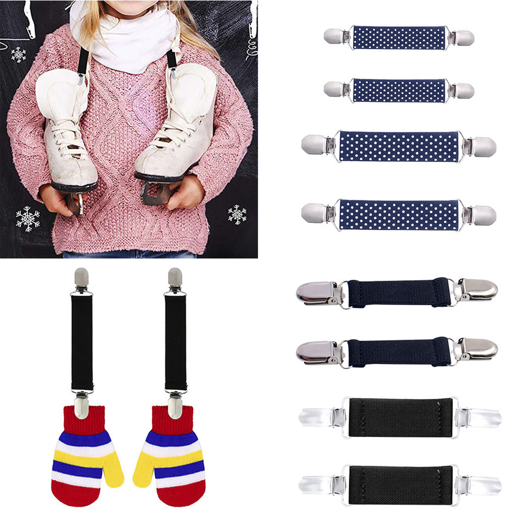 New Design 1 Pair Stainless Steel Mitten Clips Elastic Glove And Mitten Clips For Kids Gift Des Clips
