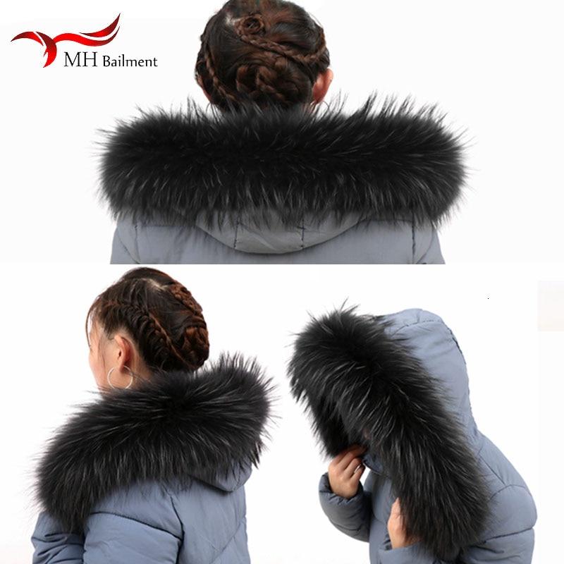 Real Raccoon Fur Collars Down Jacket Black Hat Scarf Winter Coat Collar Women Natural Raccoon Fur Luxury Brand Scarves Femme