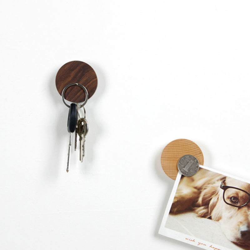 Wooden Magnet Key Holder DIY Round Sticky Hooks Wall Decortion Sitting Room Bedroom Magnetic Hooks For Hanging Home Organizer