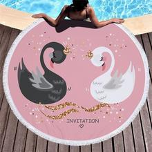 Cute Swan Printing Microfiber Soft Beach Towel 150cm Round Sport Yoga Mat Blanket Home Wall Tapestry Picnic Blanket