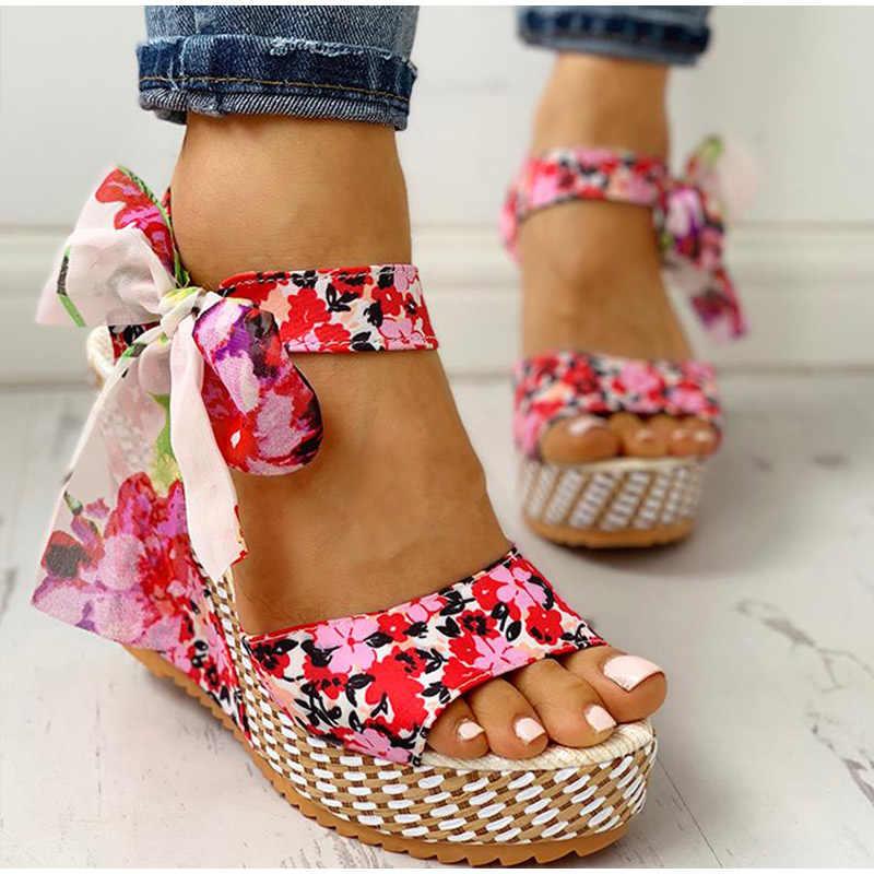 KAMUCC yaz plaj Boho çiçek kama sandalet kadın ayak bileği kayışı platformu gladyatör ayakkabı kadın yüksek topuklu Sandalias Mujer 2020