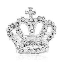 Fashion Women Rhinestone Brooch Elegant Bride Crown Shape  Crystal Dress Brooch Pin Clothing Accessories rhinestone insert ladybird shape brooch
