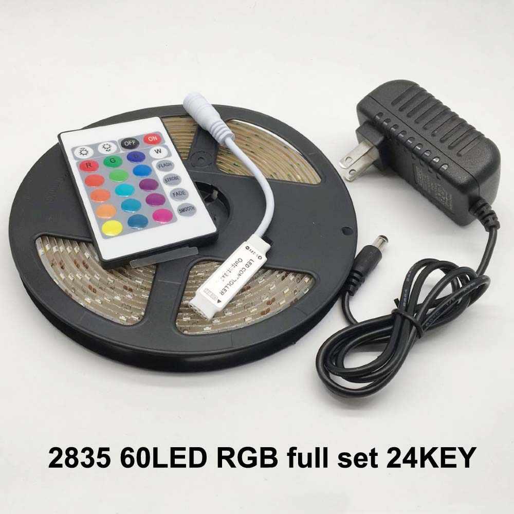 LED Lampu Strip Fleksibel Diode Ribbon Tape DC 12V 1M 2M 3M 4M 5M SMD 2835 5050 RGB Daya Tahan Air Remote Lighting 24Key 44Key
