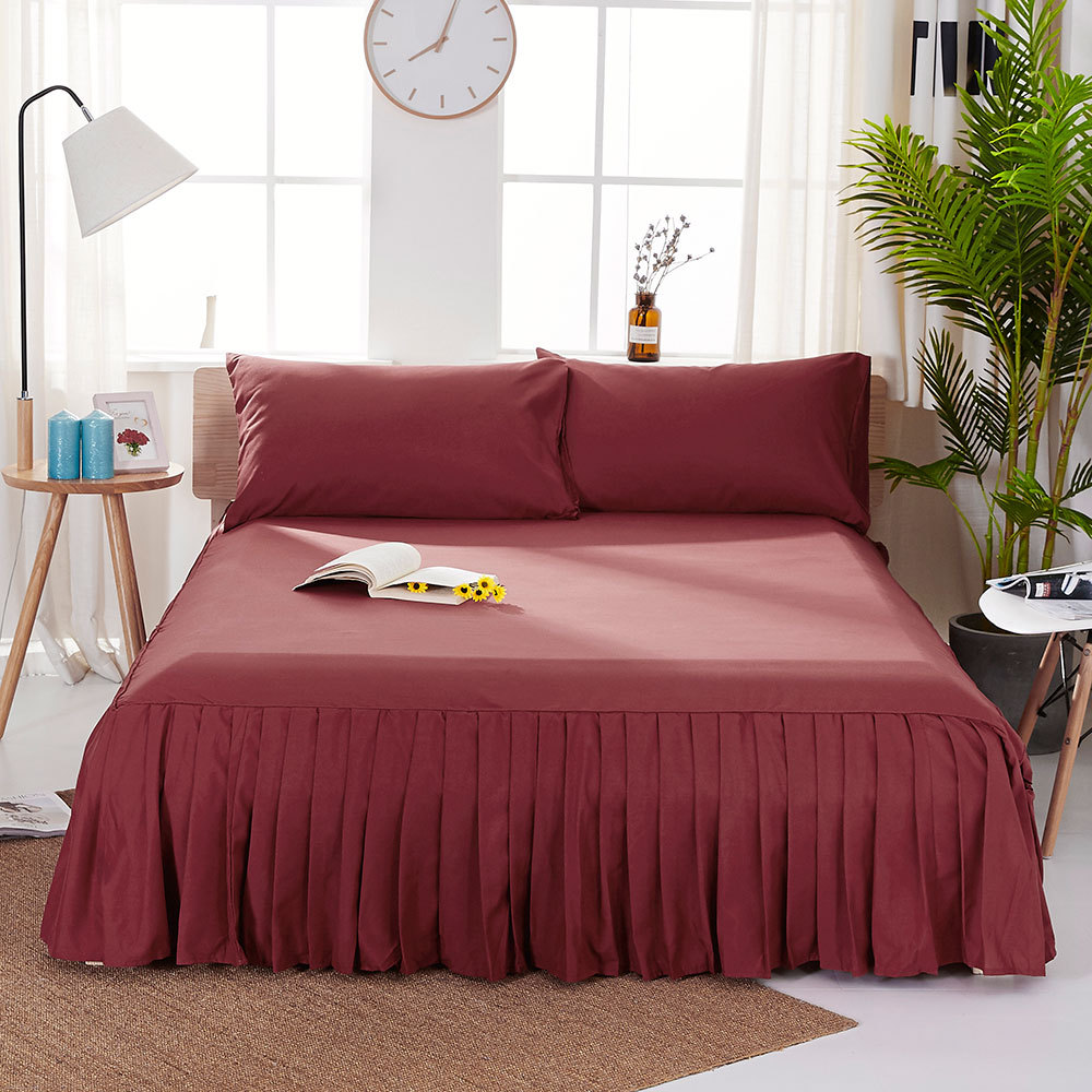 1pc Sanding Bedspread Solid Color Fitted Sheet Cover Soft Non-Slip King Queen Bed Skirt Protector Bed Mat Cover 1.2m/1.5m/1.8m 8