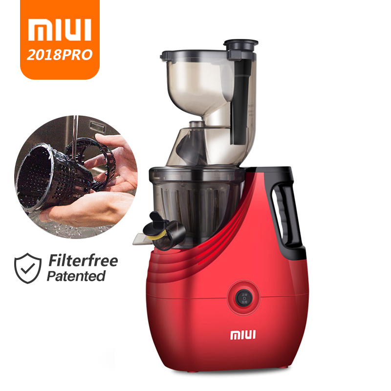 MIUI Slow Juicer 7 Level Cold Press Extractor Filterfree Innovat Easy Clean 43rpm Quiet Motor Large Diameter BPA Free 2018 PRO