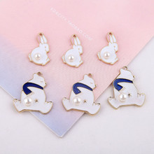 2pcs cute jewelry cartoon alloy bear bunny inlaid pearl earrings  fashion pendant for women material diy accessori