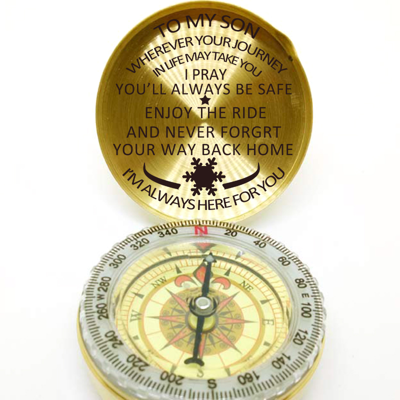 Directional To My Son Engraved Brass Compass ON Chain with Leather CASE