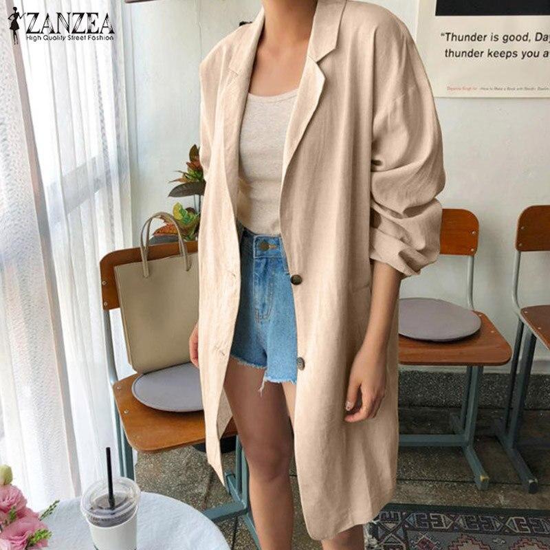 ZANZEA Fashion Women Blazer Solid Elegant Laple Neck Long Sleeve Coats Ladies Work Jackets Loose Cotton Linen Cardigan Feminino7