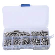 212Pcs M2/M2.5/M3/M4/M5/M6 Hex Socket Flat Point Set Screw 304 Stainless Steel Grub Screw with Hex Wrench(China)
