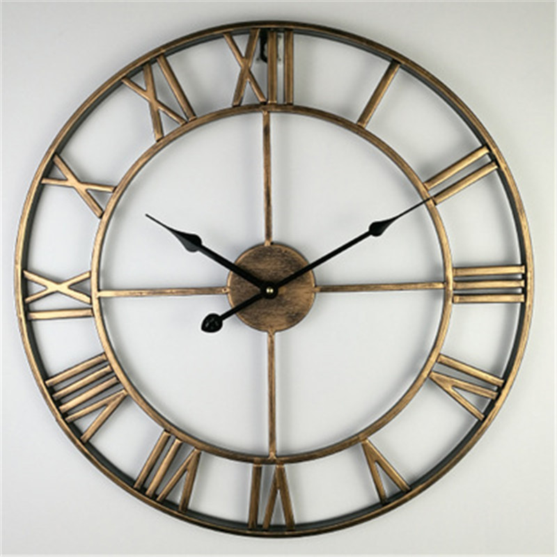 Wall-Clocks Round Gold Hollow Home-Decor Antique Large with Roman Numerals Retro Iron