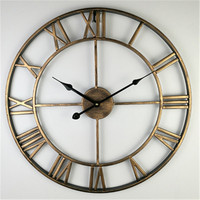 40/47/60Cm Antique Large Wall Clocks With Roman Numerals Retro Iron Art Hollow Wall Clock Round Home Decor Black Gold Red