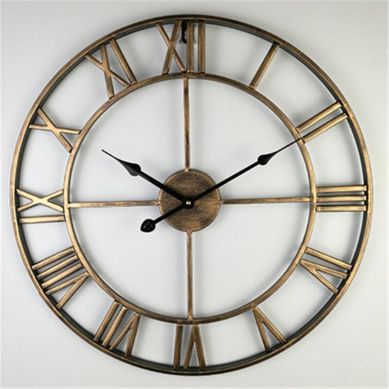 40/47/60Cm Antique grandes horloges murales avec chiffres romains rétro fer Art creux horloge murale ronde décor à la maison noir or rouge