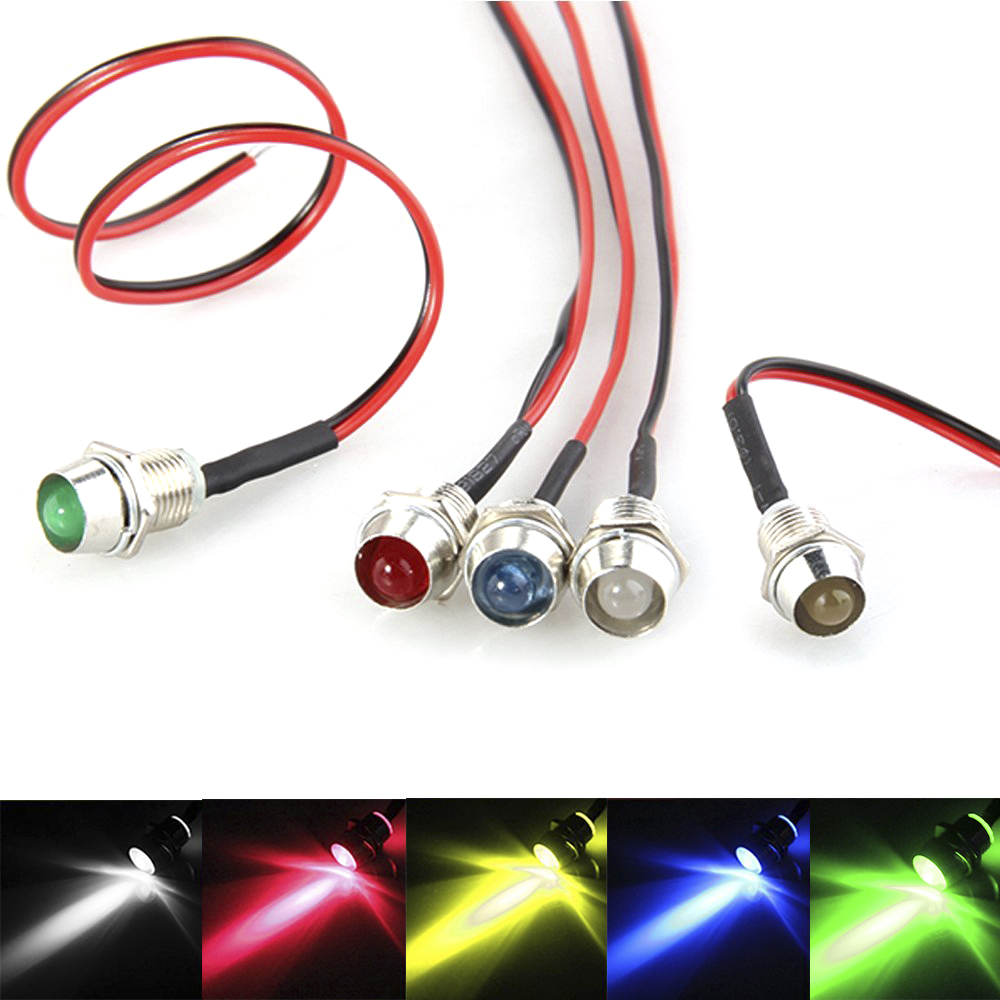 Universal 5PCS 12V 5mm LED Indicator Lights Ultra-Bright Prewired Lamp Bulb Set Car Accessories For Car Boat Motorbike Motorcycl
