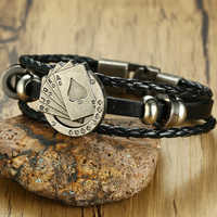 Black Braided Genuine Leather Bracelet Lucky Spade A Poker Accessories Charm Wrist For Men Jewelry