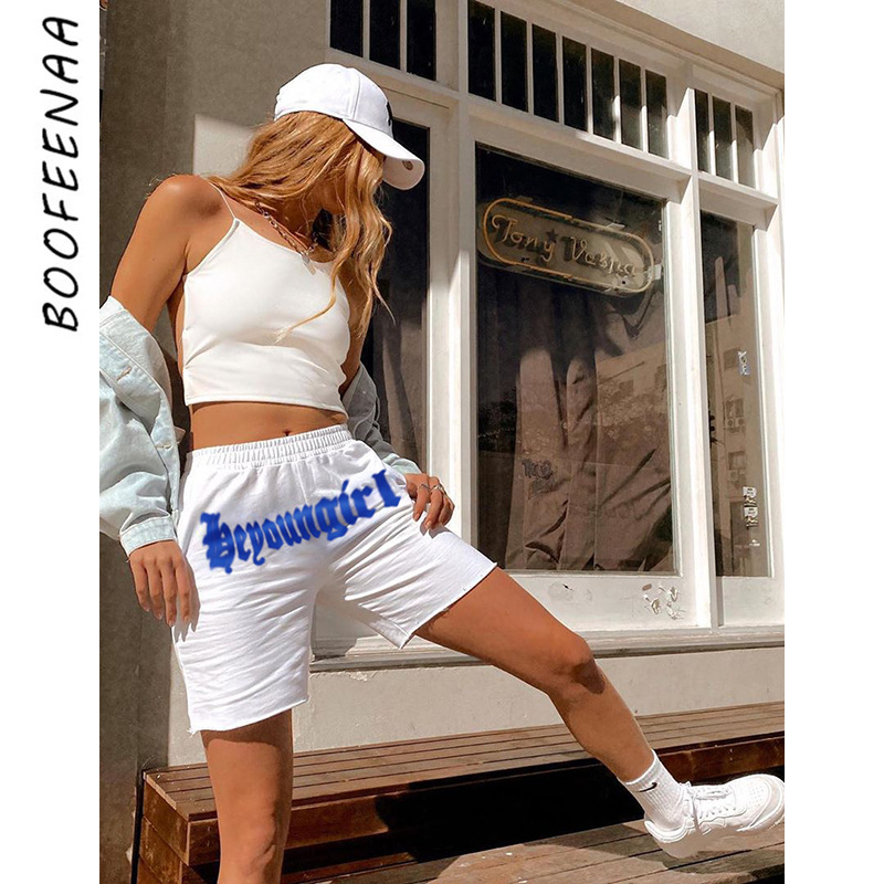 BOOFEENAA Letter Print White High Waist Shorts For Woman Casual Joggers Summer Sweatpants Workout Clothes For Women C67-AC93