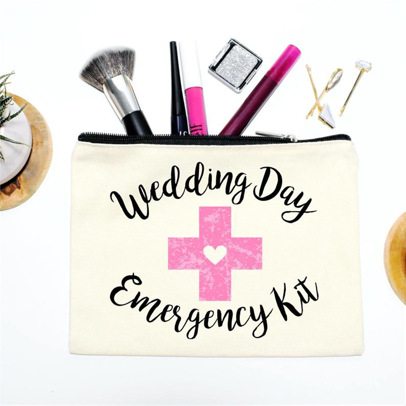 Wedding Day Emergency Kit Makeup Cosmetic Bag Bridal Shower Bachelorette Hen Party Bride To Be Bridesmaid Gift Decoration Favor