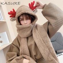 Hat Scarf Plush-Cap Women Warm Winter Fashion Solid with Deer Ear 3-in-1/Hoodie/Earflap/..