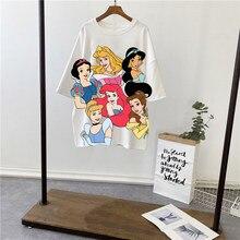 Meerjungfrau Prinzessin Disney T Hemd Frauen 3D gedruckt T-shirt Tops Schnee Wei Prinzessin Harajuku Drucken Oversize Casual Kurzarm