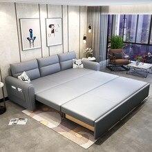 Nova tecnologia de atualização pano sofá cama dupla finalidade dobrável multifuncional sala net vermelho duplo storable pequena casa