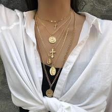 Fashion Cross Collar Choker Necklaces For Women Gold  Chunky Charm ZA Silver Coin Chain Jewelry Short Accessories Brincos 2019