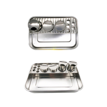 Dental stainless steel tools Storage tray Box Lab Instrument Dentist Surgical Tray dental products 3 Bottles with 1set