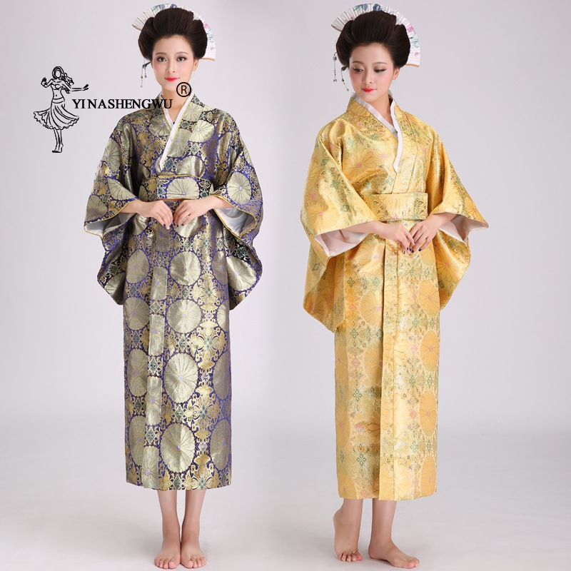 Japanese Traditional Floral Print Long Kimono Back Bow-knot Stage Costume Japan Femme Cosplay Cotume Asian Clothing Yukata Women