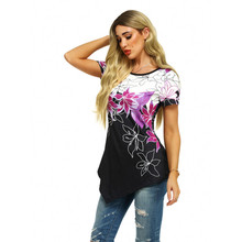 Plus Size Women's Summer Tee Shirt Floral Print Fashion Top Lady