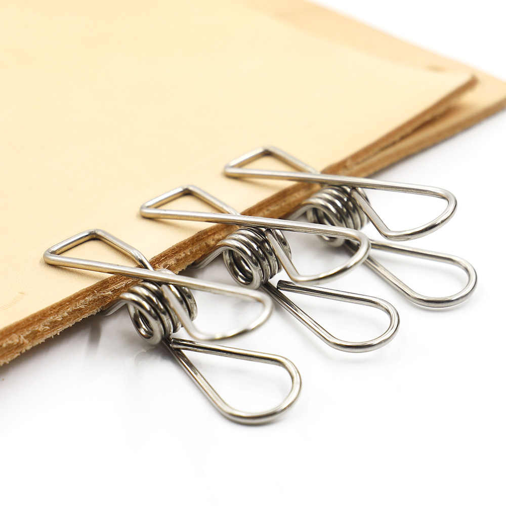 Pince à ressort en acier inoxydable outils d'artisanat en cuir pince en argent vêtements pinces suspendues pinces fournitures de vie artisanat en cuir