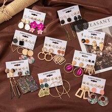 6/12 pairs fantasia 2020 na moda brinco conjunto pérola brincos de cristal gota boho geométrica borla brincos para mulheres jóias presente