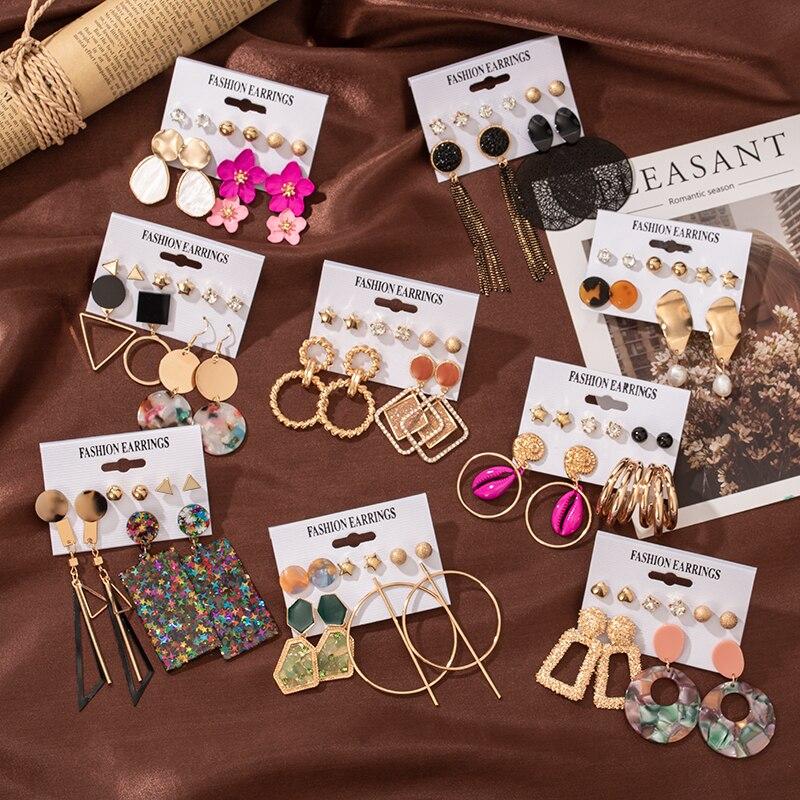 6/12 Pairs Fancy Lady Earring Set Pearl Crystal Stud Earrings Drop Boho Geometric Tassel Earrings 2020 For Women Jewelry Gift
