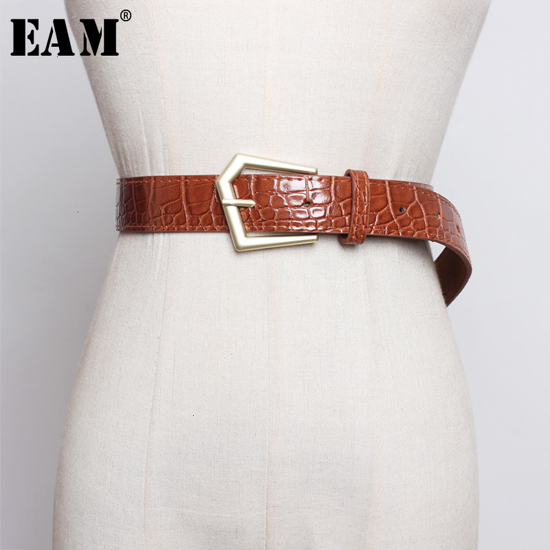 [EAM]  Pu Leather Multicolor Black Buckle Long Wide Belt Personality Women New Fashion Tide All-match Spring Autumn 2020 1H225