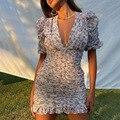 Модное Элегантное Цветочное платье с принтом в стиле бохо, женское облегающее офисное платье с пышными рукавами и V-образным вырезом, летние...