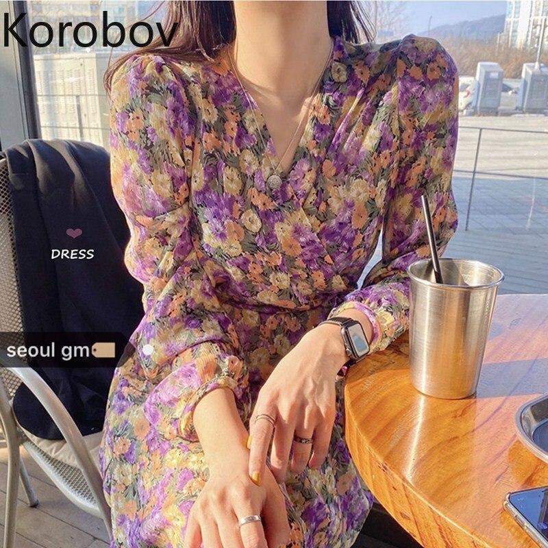 Korobov Korean Chic Retro Print Temperament Dress High Waist Hip A Line Chiffon Vestido V Neck Cross Design Ropa Spring