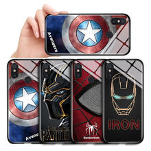 For Xiaomi mi Note 3 Marvel The Avengers Superhero Case Captain America Ironman Black Panther Tempered Glass Back Casing Cover(China)