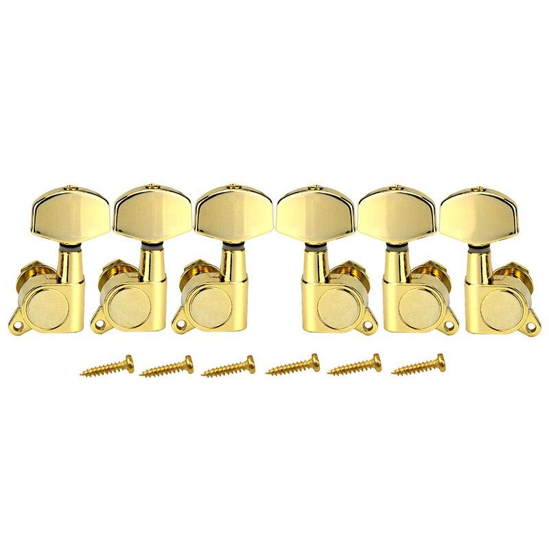HOT-A Ensemble 6 pièces Chrome Verrouillé String Tuning Chevilles Clés Tuners Mécaniques pour Guitare Électrique Acoustique Serrure Schaller Style - 5
