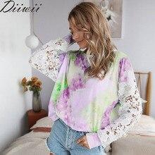 Diiwii Autumn New Fashion Casual Women Tie Dye Print T Shirt
