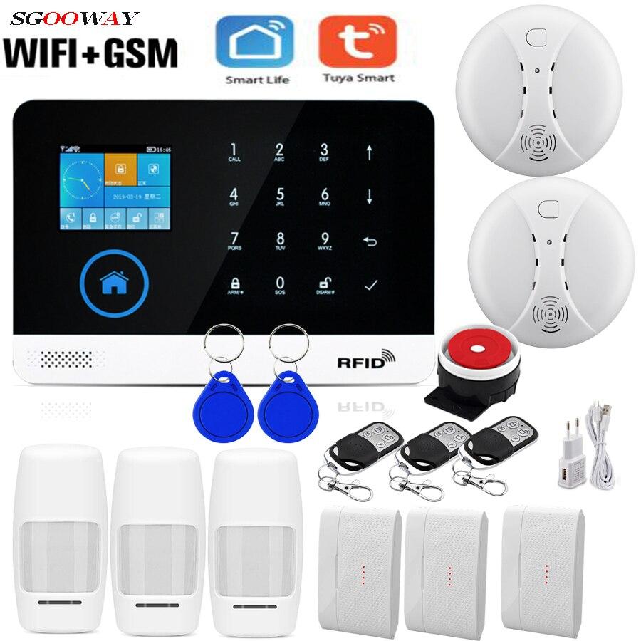 Sgooway fabrika Wifi GSM GPRS kablosuz ev hırsız güvenlik alarmı sistemi entegre WIFI IP kamera ile