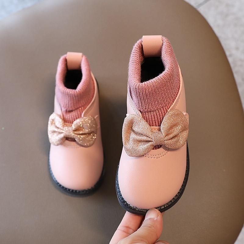 couro bonito doce arco no moda quente sapatos de escola 03