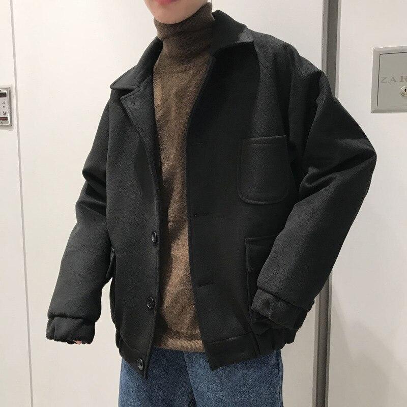 Winter Shorts Woolen Coat Men's Warm Fashion Solid Color Casual Woolen Jacket Men Streetwear Wild Korean Jacket Mens M-5XL