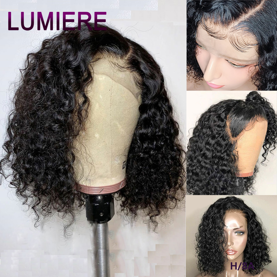 Lumiere Hair Kinky Curly Wig Non-Remy Short Bob Wigs Lace Front Human Hair Wig For Black Women Pre Plucked With Baby Hair  150%