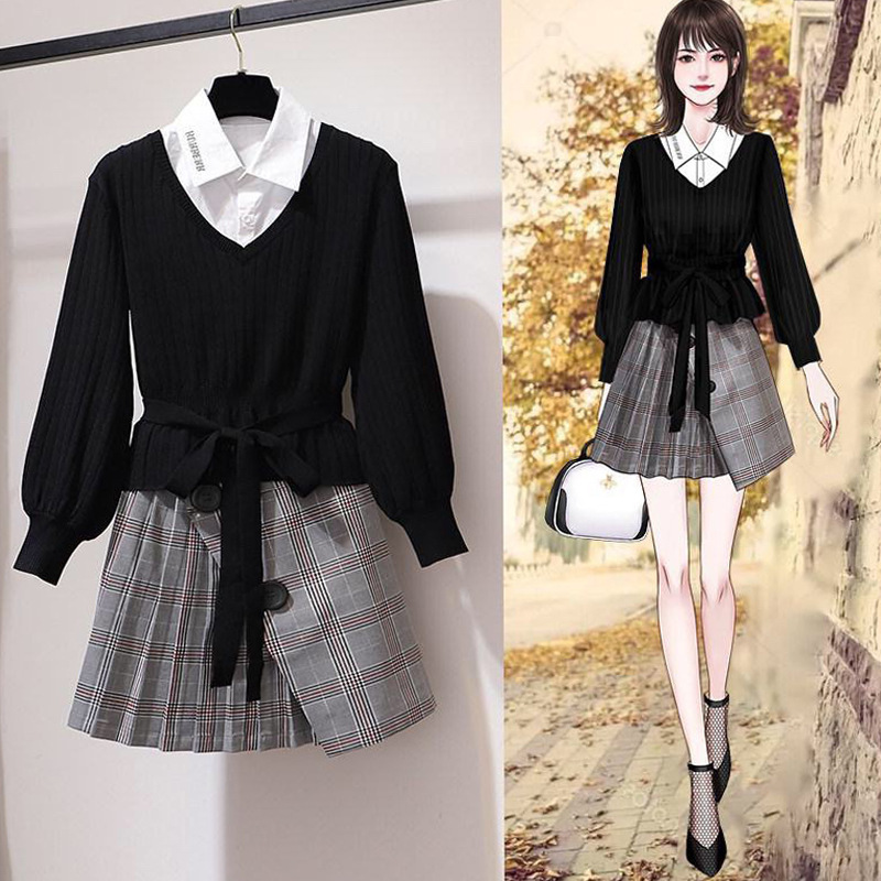 High Cold Royal Sister-Style Skirt WOMEN'S Suit 2019 New Style Graceful Short-height Autumn Clothing Collocation Two-Piece Set S