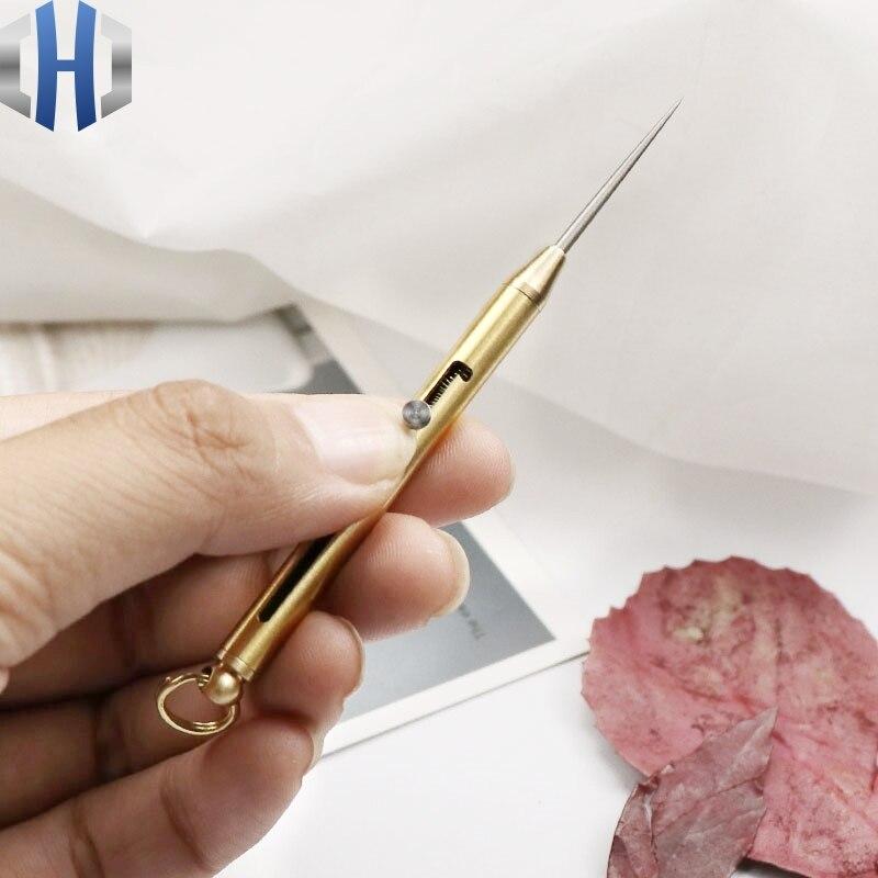 Titanium Alloy Retractable Toothpick Brass Handle Portable Multi-function Self-defense Toothpick