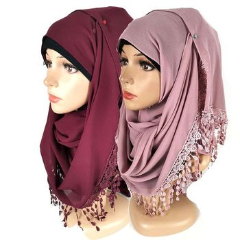 Premium Chiffon Womens Hijab Scarves With Exquisite Lace Fringed Solid Color Malaysia Long Shawl Islam Head Wrap Turban
