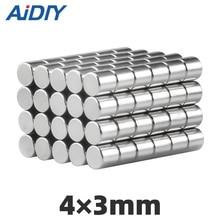 AI DIY 50/100Pcs 4 × 3mm N35 Neodymium Magnet Disc Super Strong Durable Mini Small Round Tiny Rare Earth Magnets Sheet 4*3mm стоимость