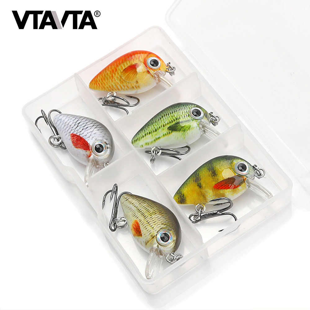 VTAVTA Mini Crank Bait 5pcs Floating Wobblers For Fishing Lure Set Of Wobblers Artificial Bait 1.6g Fake Fish Hard Lures Minnow