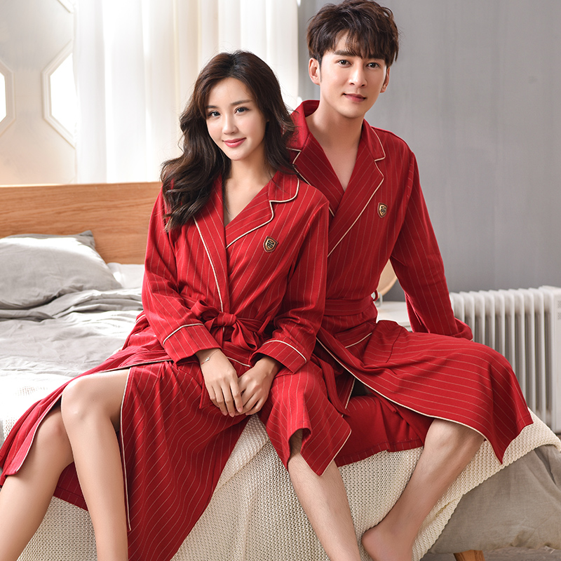 Spring Autumn Bathrobe Couples 100% Cotton sleep top Kimono Robes For Male Striped Robes Long Bath Robe Bride Robe Dressing Gown