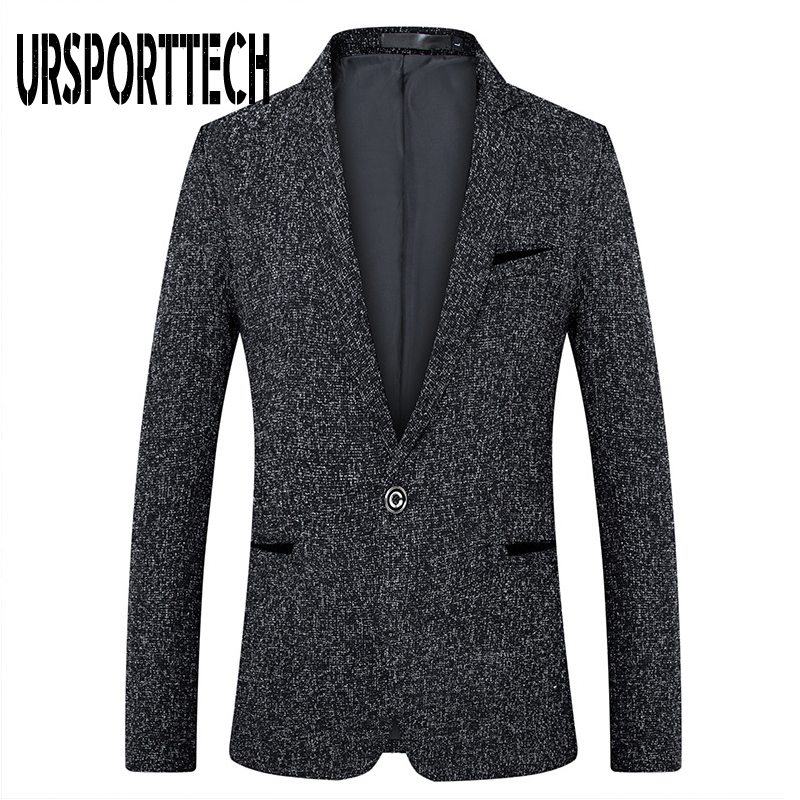 URSPORTTECH Men Suit Blazer Autumn Slim Fit One Button Suit Blazer Fashion Formal England Style Men Classic Wedding Suit Jackets