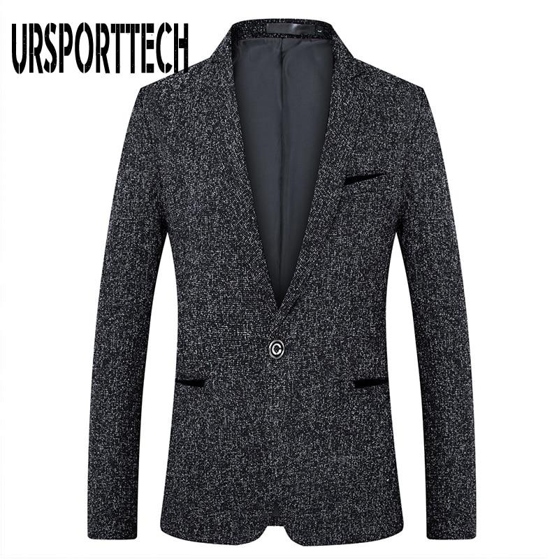URSPORTTECH Men Suit Blazer Autumn Slim Fit One Button Suit Blazer Fashion Formal England Style Men Classic Wedding Suit Jackets